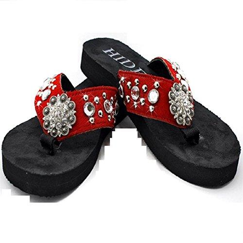 0e2382acf Hide N Sole Western Cow Hide Bling Rhinestone Concho Shoes Flip Flops  Sandals Red Jp (