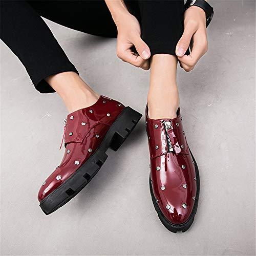 Color in EU da 41 Stringate shoes 2018 brogue uomo scarpe verniciata Rosso Rivetto Dimensione Scarpe con Basse spesso Oxford fondo casual Xujw Business pelle Nero awAqfaH