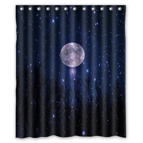 Starry Night Moon Stars Blue Sky Ocean Natural Scenery Landscape Custom  Shower Curtain 60u0026quot; X