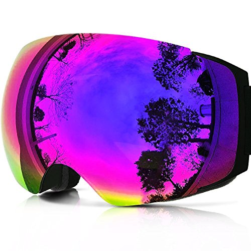 Qbsports Ski Goggles PRO Snowboarding all-Frameless,(for Men and Women) double pane goggles Anti-fog I/O lens