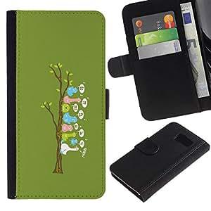NEECELL GIFT forCITY // Billetera de cuero Caso Cubierta de protección Carcasa / Leather Wallet Case for Samsung Galaxy S6 // Lindo árbol Pájaro divertido
