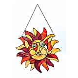 River of Goods  Sun Face Stained Glass Window Panel - 15'' x 15''