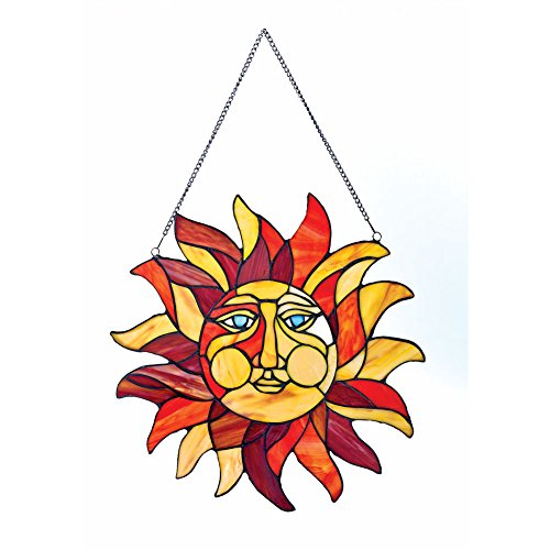 River of Goods  Sun Face Stained Glass Window Panel - 15