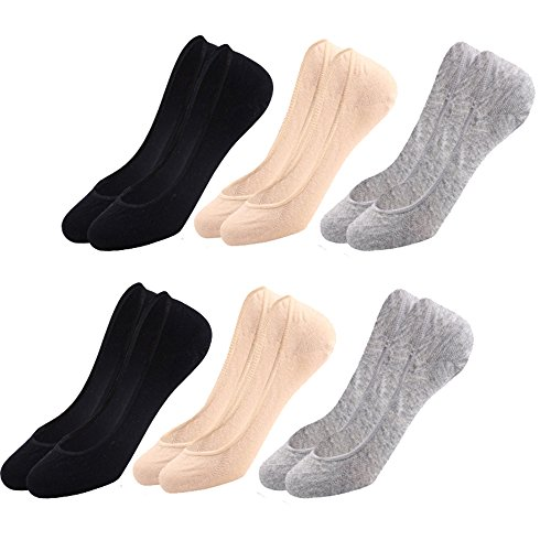 Liner Low (CHENYUE No Show Socks for Women 6 or 10 Pairs Ultra Low Cut Casual Cotton Non Slip Invisible Flat Boat Liner Thin Socks (6))