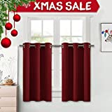 """NICETOWN Thermal Insulated Blackout Tier - Valance Curtain Set - 42 Width x 24"""" Length - Burgundy"""
