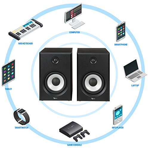 ROSEWILL Bluetooth Computer Speaker System for Laptop, Smartphone, Tablet and Multiple Devices. 2.0 Active Near Field Monitor, Studio Monitor Speaker, Wooden Enclosure. Best Wireless Bookshelf Speaker by Rosewill (Image #8)