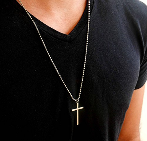 Handmade Long Stainless Steel Necklace For Men Set With Cross Pendant By Galis Jewelry - Cross Necklace For Men - Religious Necklace For Men - Christian Necklace For Men