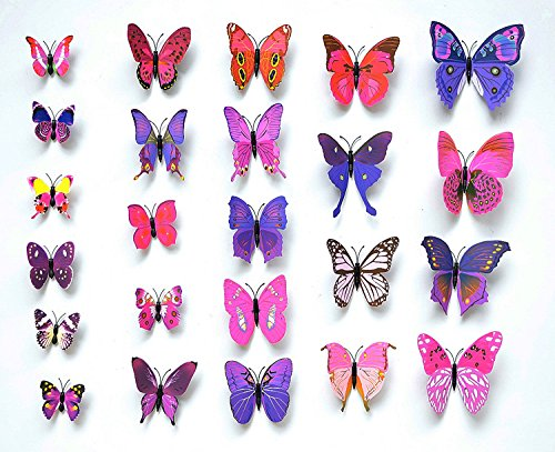If Feel Removable 24 Pcs 3D Butterfly Wall Sticker Art Decorations Decals Cute Mural Decoration Home Decor Wall - With Heads Like Girls Do Guys Big