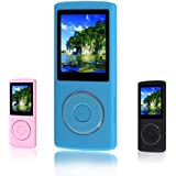 FecPecu Music Player, 16GB MP3 Player 48 Hours Playback Hi-Fi Sound, Portable Audio Player(Blue)