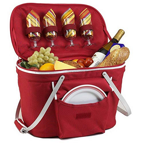 Mikash Collapsible Insulated Picnic Basket Set with Serving for 4 | Model PCNCST - 6 |