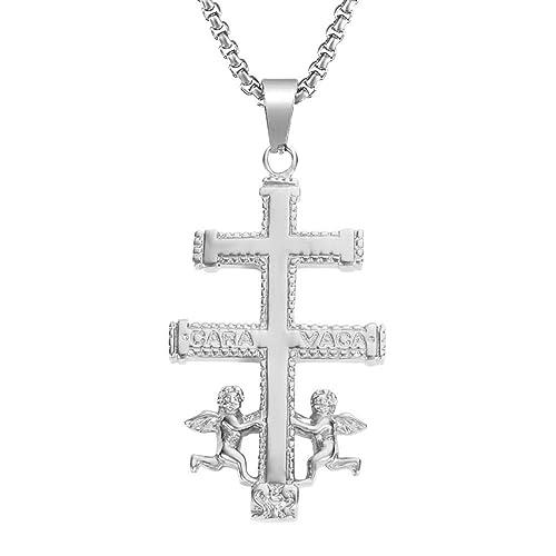 b5dcaa0b5b99 BOBIJOO Jewelry - Colgante Cruz de Caravaca de Protección de Acero  Inoxidable de Plata Chapado en Oro+Cadena - Acero Inoxidable  Amazon.es   Joyería