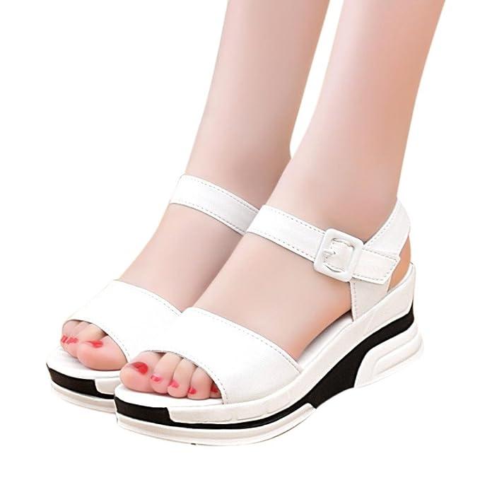 3547ca23 Sandalias Boca De Pescado CuñA Mujer Plataforma De Verano Zapatos ,ZARLLE  Bajos Zapatillas Verano De