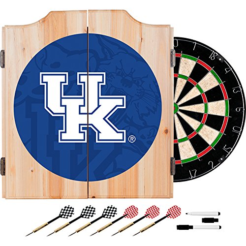 University of Kentucky Deluxe Solid Wood Cabinet Complete Dart Set - Officially Licensed! by TMG