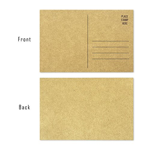 Set of 50 Brown Kraft Paper Blank Postcards Pack - Self Mailer Mailing Side Postcards 50 Pack Postage Saver - 4 x 6 Inches Photo #4
