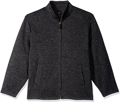 Full Zip Long Sleeve Sweater - Dockers Men's Full Zip Long Sleeve Sweater Fleece, Dark Black Heather, X-Large