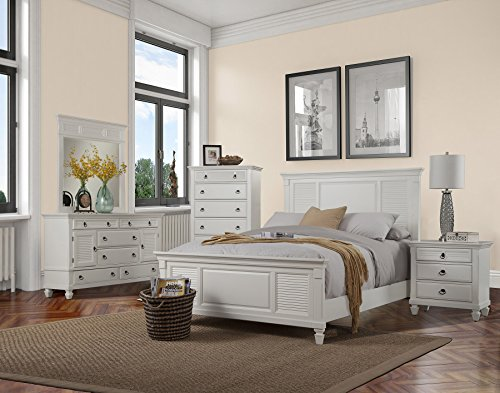 Alpine Furniture 4 Piece Winchester Shutter Panel Bed Set, Queen, White by Alpine Furniture