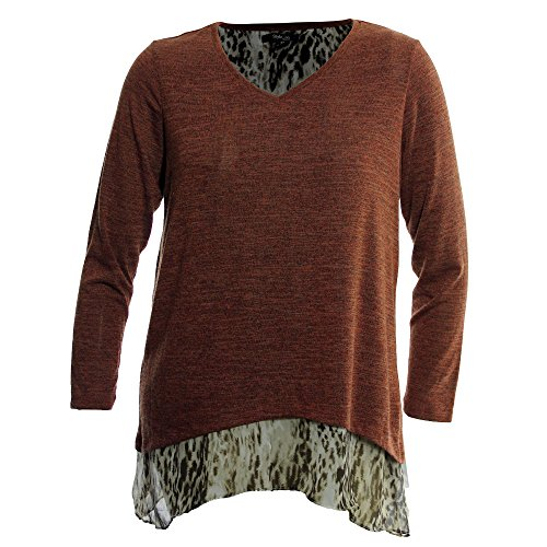 Style & Co. Womens Plus Layered Heathered Blouse Orange - Outlet Ma Malls
