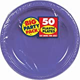 Amscan Big Party Pack 50 Count Plastic Lunch Plates, 10.5-Inch, New Purple