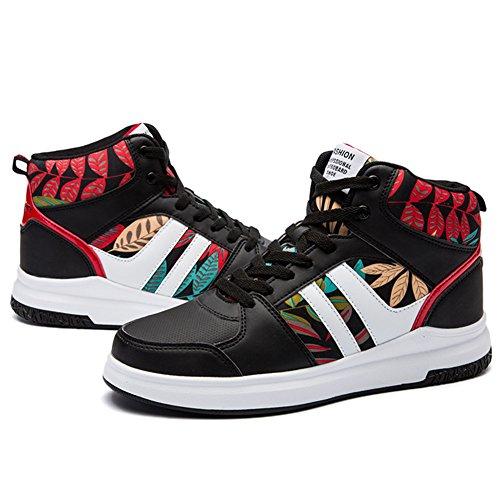 89e7ed2779 ... ROSEUNION Herren Mode High Top Leder Street Sneaker Trainer Schnüren  Breathable Sport Freizeit Schuhe mit Klettverschluss ...