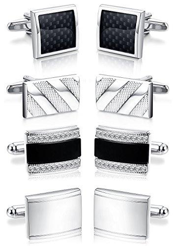 ORAZIO 4 Pairs Cufflinks for Men Cufflinks Set for Groomsman Tuxedo Wedding Silver Tone by ORAZIO