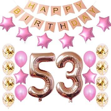 Amazon.com: 53 cumpleaños decoraciones fiesta suministros ...
