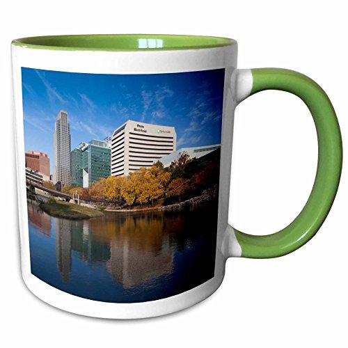 3dRose Danita Delimont - Walter Bibikow - Nebraska - USA, Nebraska, Omaha, Gene Leahy Mall, skyline - 11oz Two-Tone Green Mug - Mall Omaha Nebraska
