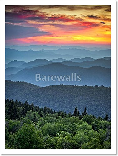 Blue Ridge Parkway Scenic Landscape Appalachian Mountains Ridges Sunset Layers Over Great Smoky Mountains National Park Paper Print Wall Art  16In  X 12In