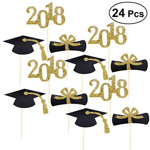 BESTOYARD 24Pcs 2018 Graduation Cap Cupcake Toppers Diploma Toothpick Toppers Decor Graduation Party - For Cupcake Picks Wood Toppers