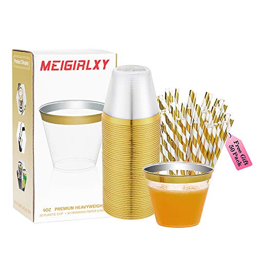 50 Clear Plastic Cups and 50 Paper Straws, 9 Ounce Tumbler Party Cups with Gold Rim, Disposable Wedding Cups