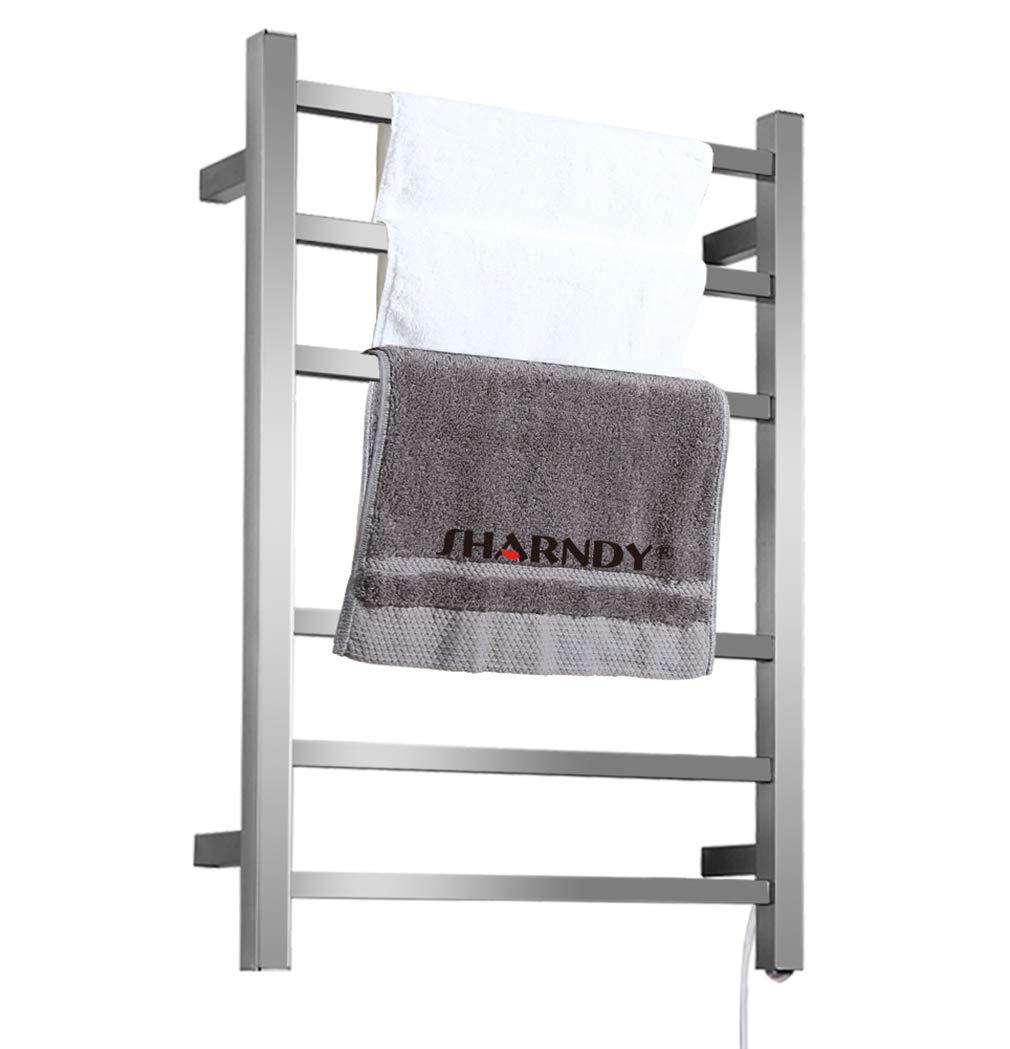 SHARNDY Electric Towel Warmers 3+3 Square Bars ETW13C Brush Nickel Towel Racks Bathroom 68W UL Listed by SHARNDY (Image #1)