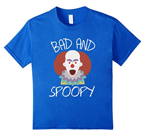 Homemade Clown Costumes Kids (Kids Funny BAD AND SPOOPY Halloween Clown T-SHIRT 10 Royal Blue)