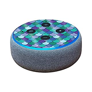 MightySkins Glossy Glitter Skin for Amazon Echo Dot (3rd Gen) - Blue Scales   Protective, Durable High-Gloss Glitter Finish   Easy to Apply, Remove, and Change Styles   Made in The USA