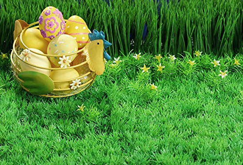 Leyiyi 10x8ft Photography Background Happy Easter Day Backdrop Cartoon Hen Colored Eggs Spring Holiday Greenery Grassland Lily Blossom Southwest Christainity Revive Photo Portrait Vinyl Studio Prop