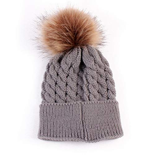 oenbopo Baby Winter Warm Knit Hat Infant Toddler Kid Crochet Fur Hat Beanie Cap Grey