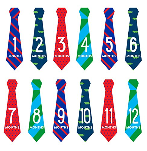 - Pearhead First Year Monthly Milestone Necktie Photo Sharing Baby Belly Stickers, 1-12 Months, Blue