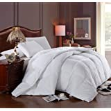 Egyptian Bedding California (Cal) King Size Luxury 1200 Thread Count Year Round Super Soft 100% Egyptian Cotton White Goose Down Alternative Comforter Duvet, White Solid, 750 Fill Power, 50 Oz Fill Weight