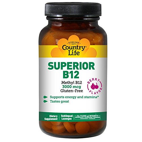 Country Life, Superior B12, Berry Flavor, 3000 mcg, 50 Sublingual Lozenges ()
