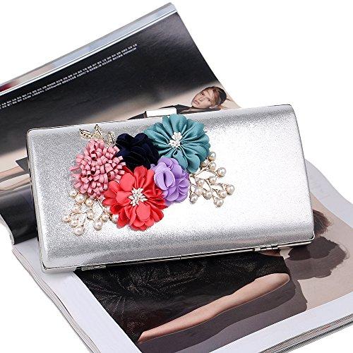 Mariage Embrayages Main SoirÉE À Clutch De Evening Bag Purse Argent Sacs Fleur Pearl Femmes Sacs Pn4ACqCw