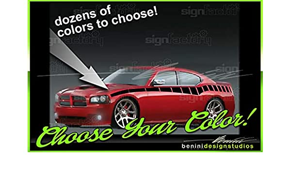 Checkered Racing Flag 06 07 08 09 10 2006-2010 Dodge Charger Rear Quarter Panel Side Stripes Decal Kit
