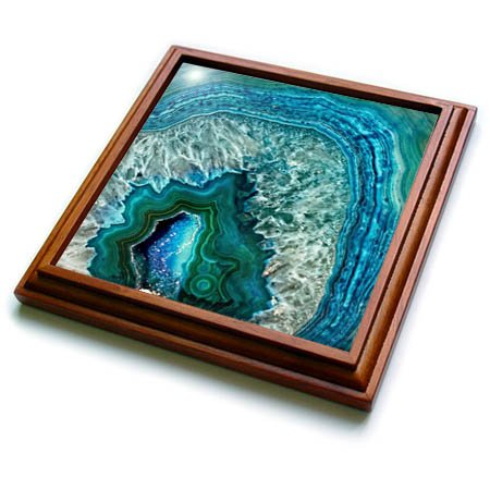 3dRose trv_266902_1 Luxury Aqua Blue Marble Agate Gem Mineral Stone Trivet with Tile, 8 by 8