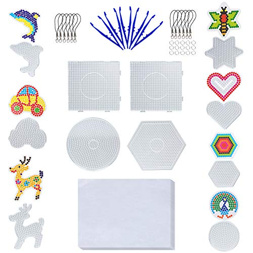 11 Pieces Boards- 5mm 4 Pieces Fuse Beads Boards Large Clear Pegboards Kits, Hexagon & Square & Round, and 7 pcs Other Shapes Small Beads Boards+Bonus Small Components for Kids Craft (Total 48 PCS)
