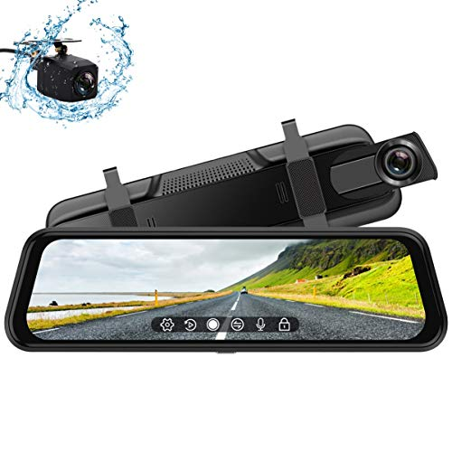 Backup Camera, 10Inch 1080P HD Mirror Dash Camera, Rear View Front and Rear Dual Lens with Loop Record, G-Sensor, 1080P Waterproof Reversing Assistance Camera, Parking Monitor, Touch Screen GRC