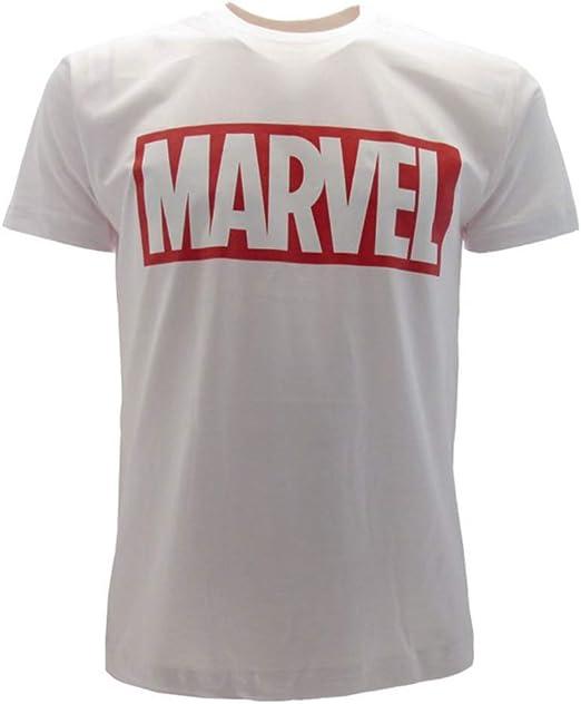 Marvel Camiseta Blanca Logotipo Original Producto Oficial Escrito Manga Corta T-Shirt (XL): Amazon.es: Ropa y accesorios