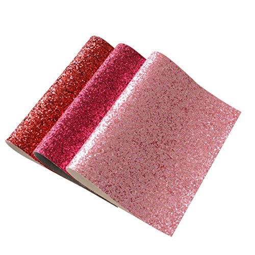 Chunky Glitter Fabric Sheets- 3 Pieces of Assorted Colors 8 x 12 Shiny Thick Canvas Fabric Sheets for Bag Making, Hat Making, Hair Crafts Making, Jewelry Making, Sewing, Shoe Making (Mix Color-4)