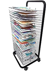 Drying Rack, Mobile Drying Rack with Wire Shelves for Works of Art, Mobile Classrooms, Art Studio, Educational Product Drying Rack, Drying Easel, Black Powder Coated Finish (Size : 35-Layer)