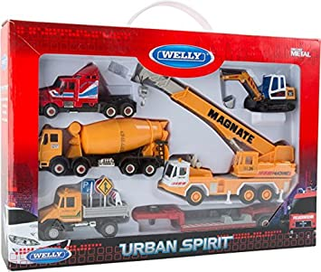 Building site play set diecast toy truck crane digger