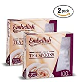 Embellish Cutlery Deluxe Heavy Weight Clear Plastic Tea Spoons 100 Tea Spoons In A Box Pack Of 2