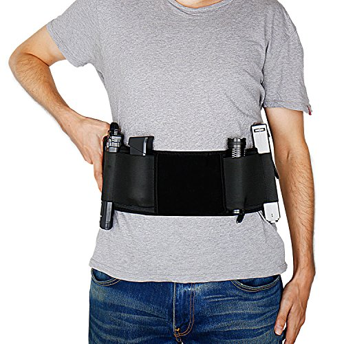 Double Shoulder Holster Costume (Gun Holster Belly Band Holster for Concealed Carry, Neoprene Waist Band Handgun Carrying System, Elastic Hand Gun Holder for Pistols Revolvers for Men and Women)