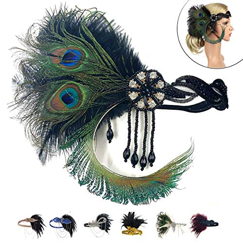 1920 Feather Headband - 1920 Accessories Black Vintage Headband Flapper Costume 1920 Headpiece for Women Gatsby Accessories(Green) -