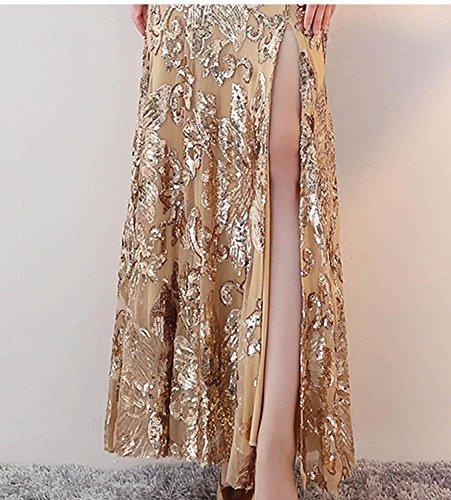 Meerjungfrau Gold mit Ausschnitt Long V Pailletten Golden Frauen Gürtel Split Fanhao Abendkleid U70wqSq